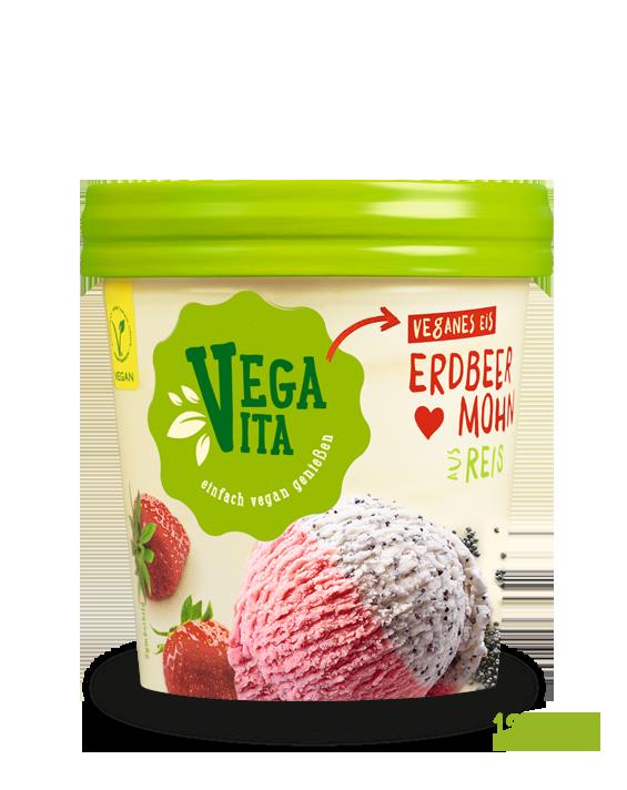 Erdbeer-Mohn-Eis Großansicht | Vegavita